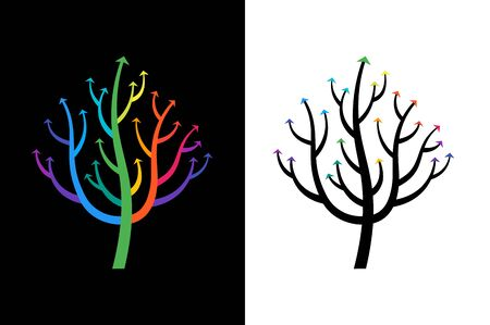 Abstract Growing Arrow Tree That Symbolizes Development And Growth. Conceptual Vector Illustration. Illustration