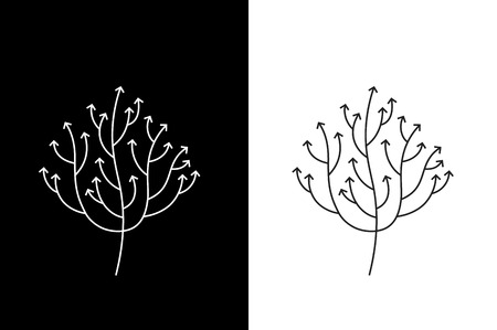 Abstract Growing Arrow Tree That Symbolizes Development And Growth. Conceptual Vector Illustration. Stock Photo