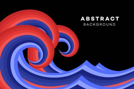 onslaught: Abstract Red-Blue Wave On The Black Background. Conceptual Vector Illustration.