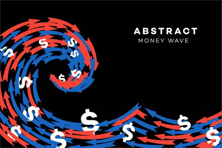 Abstract Red-Blue Wave With Dollars And Arrows. Conceptual Vector Illustration.