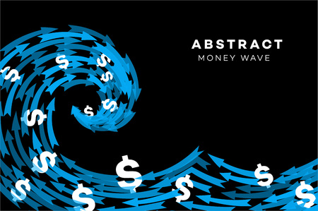 onslaught: Abstract Blue Wave With Dollars And Arrows. Conceptual Vector Illustration. Stock Photo