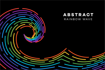 Abstract Rainbow Wave On The Black Background. Conceptual Vector Illustration. Stock Photo