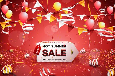 Hot Summer Sale Banner. Paper 3d Arrow. Conceptual Discount Poster. Vector Illustration.
