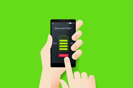 Hand Holding Smartphone With Conceptual Save Battery Mobile Application Interface. Material Design Vector Illustration
