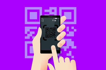 using smartphone: Hand Holding Smartphone With Conceptual QR Code Reader Mobile Application Interface. Material Design Vector Illustration