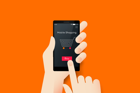 touch screen interface: Hand Holding Smartphone With Conceptual Online Shopping Mobile Application Interface. Material Design Vector Illustration Illustration