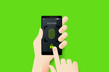 odcisk kciuka: Hand Holding Smartphone With Conceptual Unlocked Fingerprint Recognition Mobile Application Interface. Material Design Vector Illustration