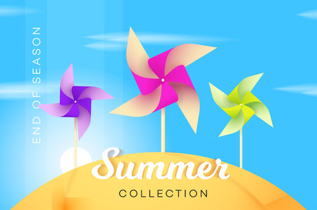 pinwheel toy: Abstract Summer Collection Banner With Multicolored Paper Windmill. Advetising Vector Illustration.