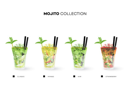 Mojito Collection. Vector Menu Template With Realistic Cocktails
