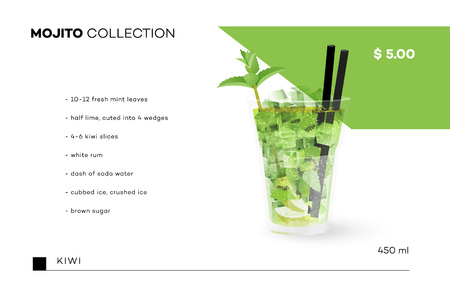 Mojito Collection. Vector Menu Template With Realistic Cocktail