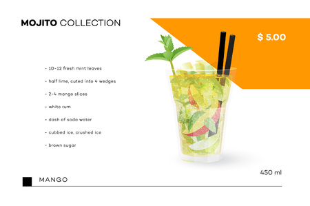 swelter: Mojito Collection. Vector Menu Template With Realistic Cocktail