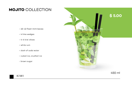 swelter: Mojito Collection. Vector Menu Template With Realistic Cocktail. Illustration