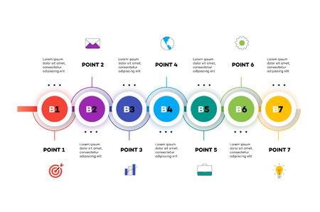 Layered Horizontal Infographic Timeline. Vector Template For Modern Business Presentation, Web Banners, Layouts. 7 Abstract Multicolored Steps. Illusztráció