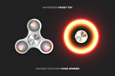 glittery: Fidget Spinners Popular Antistress Hand Toys. Vector Illustration Illustration