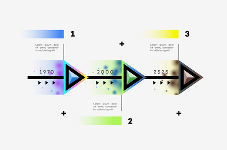 Layered Horizontal Modern Infographic Timeline. Design Template For Business Presentation, Web Banners, Layouts. Vector Constructor With 3 Abstract Multicolored Steps.