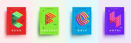 Modern Typographic Colorful Covers. Isometric Letters E, F, G, H With Abstract Memphis Design Background. Vector Trendy Template For Your Posters, Banners, Presentations, Layouts