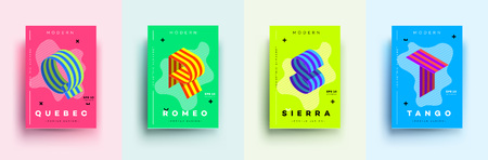 Modern Typographic Colorful Covers. Isometric Letters Q, R, S,T With Abstract Memphis Design Background. Vector Trendy Template For Your Posters, Banners, Presentations, Layouts