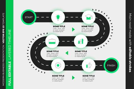 Layered Infographic Timeline. Vector Roadmap, Template For Modern Business Presentation, Annual Reports, Layouts. Vektoros illusztráció