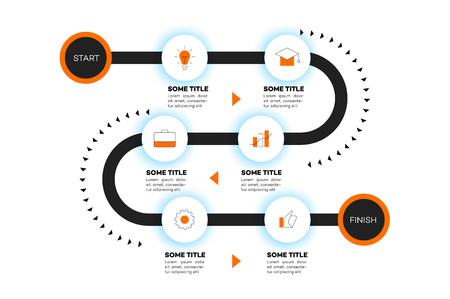 Überlagerte Infografik Timeline. Vektor-Roadmap, Vorlage für moderne Business-Präsentation, Jahresberichte, Layouts. Vektorgrafik