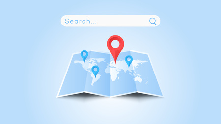 Global Searching On The Worldmap. Conceptual Flat Vector Illustration