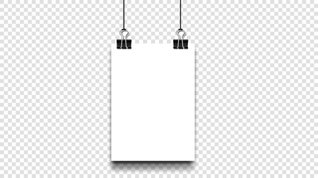 Empty A4 Paper Blank With Binder Clip Hang On Isolated Transparent Background. Vector Template