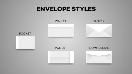 Verschillende witte envelop stijlen illustratie.