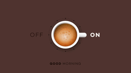 Good Morning. Conceptual Motivation Illustration. Vector Cup Of Coffee