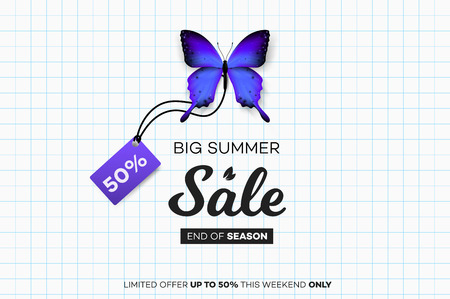 Final Summer Sale. Blue Butterfly With Sale Tag Over Notebook Sheet. Modern Conceptual Vector Illustration Vectores