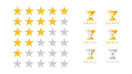 5 Stars Rating. Vector Collection With Flat Yellow Star Icons That Imitating Golden Stars. Template For Web Design.