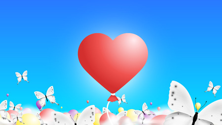 3D Baloons In The Sky Like Red Hearts. Abstract Colorful Background With White Monarch Butterflies. Stock Illustratie
