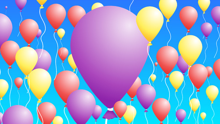 3D Baloons In The Sky. Abstract Colorful Background For Greeting Cards. Illusztráció
