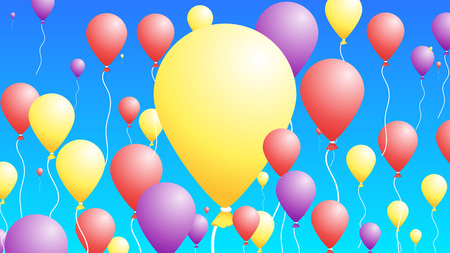 3D Baloons In The Sky. Abstract Colorful Background For Greeting Cards Illusztráció