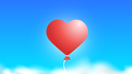3D Baloon In The Sky Like Red Heart. Abstract Colorful Background Illusztráció