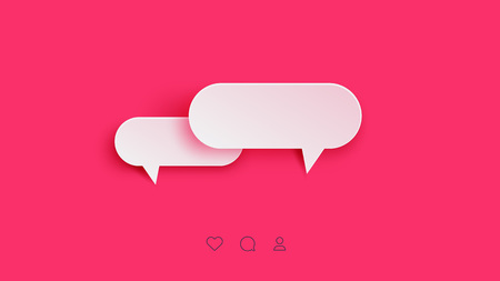 Vector Perfect Paper Style Speech Bubbles. Blank Isolated 3D Paper Stickers On Bright Pink Background.