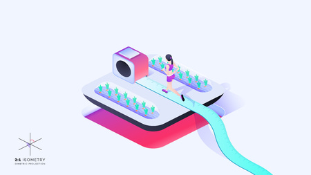 2:1 Isometry. 3d Woman Run On Roulette. Conceptual Weight Loss Isometric Illustration. Dimetric Video Game Ready Projection. Illustration