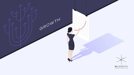 A beautiful young business lady stands with her back to the viewer. The girls hand points to the growth chart. Illustration