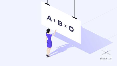 A beautiful young business lady stands with her back to the viewer. She is dressed in a strict corporate style. The girls hand points to the educational materials. Conceptual isometric vector illustration. Illustration