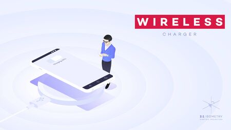 Conceptual Isometric Smartphone With Wireless USB Electric Charger.