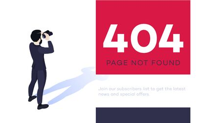 404 error page design concept. Isometric businessman looking with binoculars for 404 page. Ilustracja