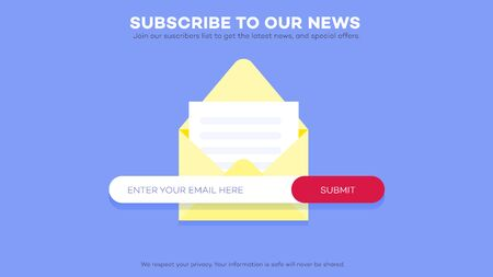 Email subscribe to latest news. Website element with e-mail subscribition form.