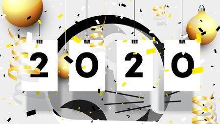 2020 Happy New Year Vector Background. Abstract Golden Metal Rat.