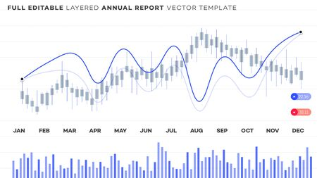 Global annual financial report. Analysis of statistics on editable chart.