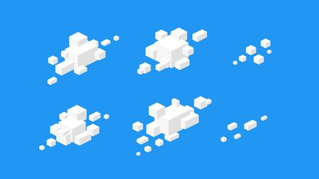 Isometric cloudscape. Abstract vector isometric clouds. 3d futuristic cloud icons for backdrops. Geometric white clouds on blue backround