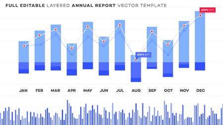 Global annual financial report. Analysis of statistics on editable chart. Layered vector financial chart with editable strokes.