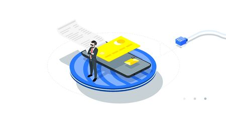 Infographic protected shopping. Safe and protected mobile payment online. Businessman pay online with mobile phone. Isometric conceptual vector illustration.