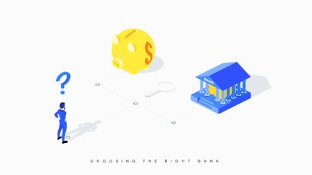 Confused businessman faces choice between bank and piggy bank. Conceptual vector illustration of metaphor of unequal benefit. The businessman is puzzled by the question of choosing the right bank.