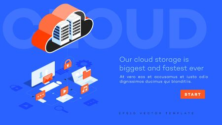 Infographic vector cloud data center illustration. Ilustracja