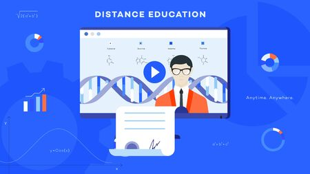 Conceptual e-learning flat vector ilustration. Distance education as solution for worldwide online learning.