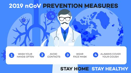 Infographic illustration how to protect yourself from Ncov (covid-19, sars-cov-2).