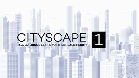 High detailed panoramic vector cityscape. Simple and clean high detailed metropolis with skyscrapers. Backdrop cityscape template. Ilustrace